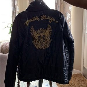Christian Audigier Black Bomber Coat